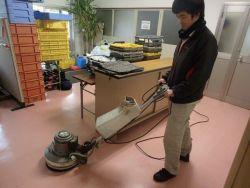 床表面洗浄・ワックス仕上作業